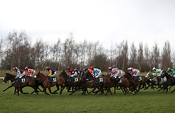 Runners and riders in the Randox Health County Handicap Hurdle during Gold Cup Day of the 2018 Cheltenham Festival at Cheltenham Racecourse.