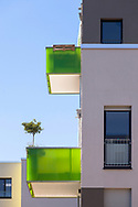 balconies of a building in the Kubikon quarter of the GAG Immobilien AG in the Ehrenfeld district of Cologne, Germany.<br /> <br /> Balkone eines Hauses im Stadtquartier Kubikon der GAG Immobilien AG im Stadtteil Ehrenfeld, Koeln, Deutschland.