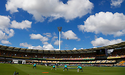 Australia warm up before the start of play during day two of the Ashes Test match at The Gabba, Brisbane.