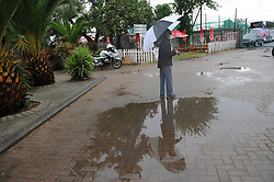 Johannesburg 14-10-18 South Africa v Zimbabwe T20I at Willowmore Park, Benoni. A man near a puddle at the stadium. Picture: Karen Sandison/African News Agency(ANA)