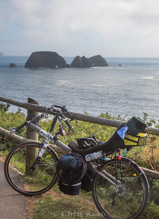 Recumbent in front of Three Arch Rocks National Wildlife Refuge, Oregon