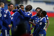 Kenneth Zohore of Cardiff city © celebrates with his teammates  after he scores his teams 2nd goal. EFL Skybet championship match, Cardiff city v Fulham at the Cardiff city stadium in Cardiff, South Wales on Saturday 25th February 2017.<br /> pic by Andrew Orchard, Andrew Orchard sports photography.