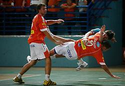 Sergej Sokolov of Knauf Insulation (10) and Sebastijan Skube of Trimo Trebnje at  handball game between RD Knauf Insulation and RK Trimo Trebnje, on September 22, 2008, in Arena Poden, Skofja Loka, Slovenija. (Photo by Vid Ponikvar / Sportal Images)