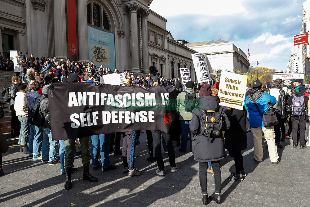 November 10, 2018 - New York, New York, U.S. - Protest against fascism and anti-Semitism on the Upper East Side on Manhattan Island in New York City in the United States this Saturday, 10. Three protesters were arrested  (Credit Image: © William Volcov/ZUMA Wire)