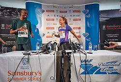 © Licensed to London News Pictures. 26/07/2013. London, United Kingdom. Mo Farah and Jessica Ennis-Hill of Great Britain speak to members of the media during a press conference on day one of the Sainsbury's Anniversary Games - IAAF Diamond League at the Grange Tower Bridge Hotel. Photo credit : Justin Setterfield/LNP
