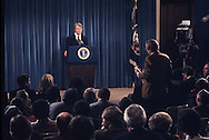 TIME correspondent Stan Cloud  asks a question at a Carter news conference<br /> Photo by Dennis Brack