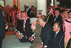 Palestinian president Yasser Arafat (center) seen during King Hussein of Jordan's funeral in Amman, Jordan on February 8, 1999. Twenty years ago, end of January and early February 1999, the Kingdom of Jordan witnessed a change of power as the late King Hussein came back from the United States of America to change his Crown Prince, only two weeks before he passed away. Photo by Balkis Press/ABACAPRESS.COM