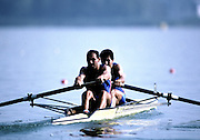 Barcelona Olympics 1992 - Lake Banyoles, SPAIN,  ITA M2+ Silver Medallist,  ABBAGNALE Carmine, ABBAGNALE Giuseppe, cox DI CAPUA Giuseppe. Photo: Peter Spurrier/Intersport Images.  Mob +44 7973 819 551/email images@intersport-images.com.       {Mandatory Credit: © Peter Spurrier/Intersport Images].........