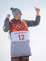 February 18, 2018 - Pyeongchang, South Korea - NICK GOEPPER of the United States gives a thumbs-up to his coaches from the awards stand after willing the silver medal in Mens Ski Slopestyle finals Sunday, February 18, 2018 at Phoenix Snow Park at the Pyeongchang Winter Olympic Games.  Photo by Mark Reis, ZUMA Press/The Gazette (Credit Image: © Mark Reis via ZUMA Wire)