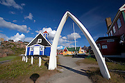 A large whale jawbone outside the Bethel Church, dating to 1775 in Sisimiut, the second largest town in Greenland, situated on the west coast.