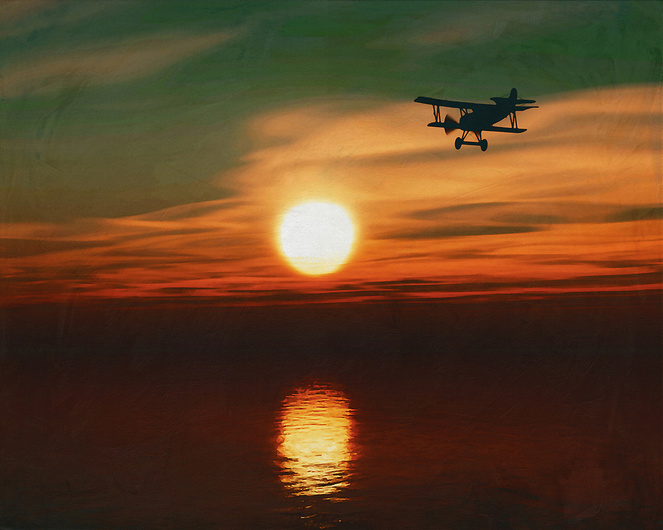 A plane flies lonely during sunset This painting easily brings the atmosphere of the sea to your home. This coastal scene can be printed in different sizes and on different materials. Both on canvas, wood, metal or framed so it certainly fits into your interior. –<br /> -<br /> BUY THIS PRINT AT<br /> <br /> FINE ART AMERICA / PIXELS<br /> ENGLISH<br /> https://janke.pixels.com/featured/airplane-at-sunset-over-sea-jan-keteleer.html<br /> <br /> <br /> WADM / OH MY PRINTS<br /> DUTCH / FRENCH / GERMAN<br /> https://www.werkaandemuur.nl/nl/shopwerk/Vliegtuig-bij-zonsondergang-over-zee/778299/132?mediumId=15&size=70x55<br /> –<br /> -