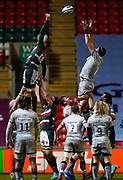 Leicester Tigers flanker Hanro Liebenberg and Sale Sharks lock JP Du Preez compete at a line-out during a Gallagher Premiership Round 7 Rugby Union match, Friday, Jan. 29, 2021, in Leicester, United Kingdom. (Steve Flynn/Image of Sport)