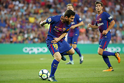 August 20, 2017 - Barcelona, Spain - Leo Messi during La Liga match between F.C. Barcelona v Alaves, in Barcelona, on September 10, 2016. Photo: Edi Capmany/Urbanandsport/Nurphoto  (Credit Image: © Urbanandsport/NurPhoto via ZUMA Press)