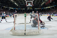 KELOWNA, CANADA - DECEMBER 29: Dylan Ferguson #31 of the Kamloops Blazers misses a third period goal by Kyle Topping #24, as Mark Liwiski #9 and Erik Gardiner #11 of the Kelowna Rockets watch the puck go in the net on December 29, 2018 at Prospera Place in Kelowna, British Columbia, Canada.  (Photo by Marissa Baecker/Shoot the Breeze)