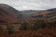 Moorland landscape in Llanafan Fawr, Powys, Mid Wales, United Kingdom.