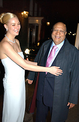 MICHELLE BONN and her father in law LORD PAUL leaving a reception to celebrate the wedding of Lord Paul's youngest son Angad to Michelle Bonn held at Lancaster House, London on 21st March 2005.<br /><br />NON EXCLUSIVE - WORLD RIGHTS