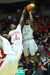 22 February 2012:  Joe Ragland attempts a shot as Bryant Allen comes in to attempt a block during an NCAA Missouri Valley Conference mens basketball game between the Wichita State Shockers and the Illinois State Redbirds in Redbird Arena, Normal IL