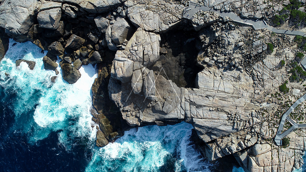 Aerial view of The Natural Bridge, Albany , Western Australia, Topdown view