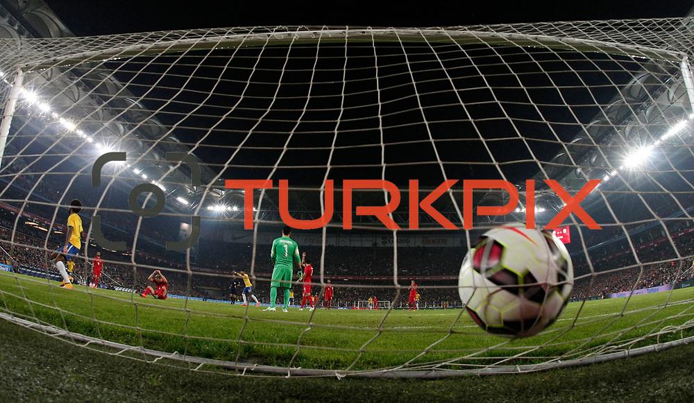 Brazil's Neymar JR scores during their a international friendly soccer match Turkey betwen Brazil at Sukru Saracoglu Arena in istanbul November 12, 2014. Photo by Aykut AKICI/TURKPIX