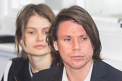 London - Alleged computer hacker Lauri Love at a press conference surrounded by his legal team and family, held at the chambers of his solicitors in London after he successfully challenged a ruling that he can be extradited to the US, following allegations that he hacked United States government websites. PICTURED: Laurie Love and girlfriend Sylvia Mann. February 05 2018.