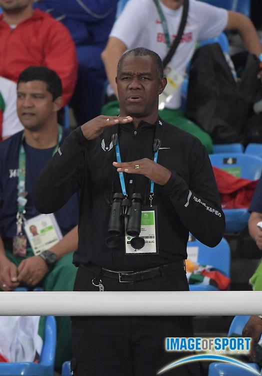 Aug 20, 2016; Rio de Janeiro, Brazil; Randall Cunningham coaches his daughter Vashti Cunningham (not pictured) during the 2016 Rio Olympics at Estadio Olimpico Joao Havelange. <br /> <br /> *