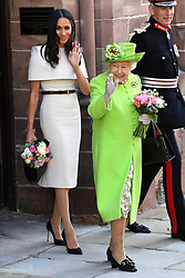 The Duchess of Sussex and Queen Elizabeth II after attending a lunch at Chester Town Hall