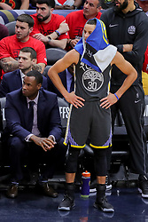 May 6, 2018 - New Orleans, LA, U.S. - NEW ORLEANS, LA - MAY 06: Golden State Warriors guard Stephen Curry (30) looks on against New Orleans Pelicans during game 4 of the NBA Western Conference Semifinals at Smoothie King Center in New Orleans, LA on May 06, 2018.  (Photo by Stephen Lew/Icon Sportswire) (Credit Image: © Stephen Lew/Icon SMI via ZUMA Press)