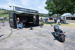 THIS IMAGE FOR INTERNAL USE ONLY! Harley-Davidson concierge area was a new addition to the Harley-Davidson footprint at the Sturgis Civic Center on Lazelle during Sturgis Black Hills Motorcycle Rally. SD, USA. Thursday, August 8, 2019. Photography ©2019 Michael Lichter.