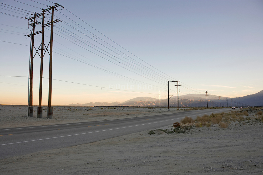 view of the desert landscape outside Palm Springs California America