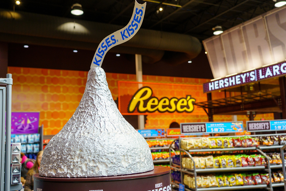 Hershey, PA, USA - December 11, 2018:  A large chocolate candy kiss is on display in Chocolate World.