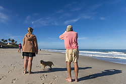 February 6, 2018 - Vero Beach, Florida, USA - People observe the launch of the SpaceX Falcon Heavy Rocket on Feb 6, 2018 in Vero Beach, Florida (Credit Image: © Alex Edelman via ZUMA Wire)