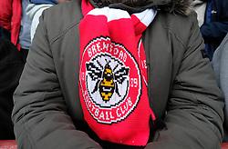 A closeup on Brentford's fan scarf
