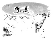 (Two ambulancemen taking off a ski jump with a stretcher looking for injured skiers)