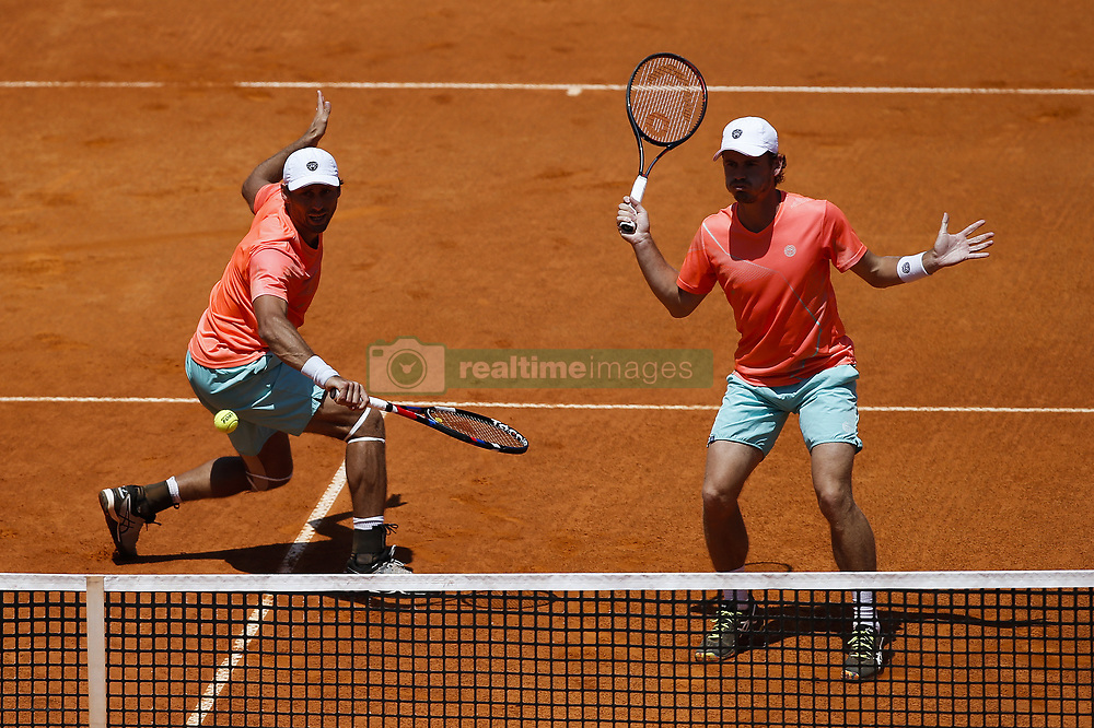 May 6, 2018 - Estoril, Portugal - Artem Sitak from New Zealand returns a shot against Kyle Edmund from Great Britain and Cameron Norrie from Great Britain while playing with Wesley Koolhof from Netherlands from New Zealand during the Millennium Estoril Open ATP doubles final tennis match in Estoril, near Lisbon, on May 6, 2018. (Credit Image: © Carlos Palma/NurPhoto via ZUMA Press)
