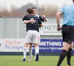 Falkirk's Blair Alston cele scoring their third goal.<br /> half time : Falkirk 3 v 0 Cowdenbeath, Scottish Championship game played today at The Falkirk Stadium.<br /> © Michael Schofield.