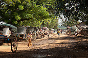 Donkey carts line up to transport goods and give tourists a tour of Ava, an ancient city in Myanmar