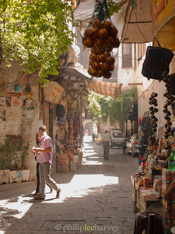A souq street in the early morning in the Old City in Damascus, Syria