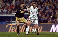 7/2/2004 Madrid, Spain.<br />La Liga (Spanish League) stage 23<br />R.Madrid 2 - Malaga 1<br />R.Madrid's Borja in duel with Malaga's Miguel Angel at Santiago Bernabeu's Stadium.<br />© 2004 Alejandro leon Fernandez