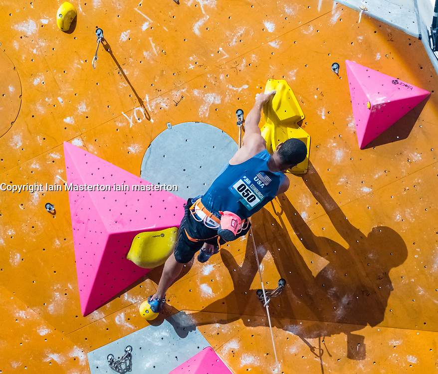 Kai Lightner of the USA  climbs in the lead semi-finals  at the International Federation of Sport Climbing (IFSC) World Cup 2017 at Edinburgh International Climbing Arena, Scotland, United Kingdom.