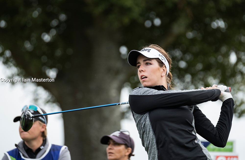 Gleneagles, Scotland, UK; 10 August, 2018.  Day three of European Championships 2018 competition at Gleneagles. Men's and Women's Team Championships Round Robin Group Stage. Four Ball Match Play format.  Pictured; Georgia Hall of Great Britain in match against Belgium.
