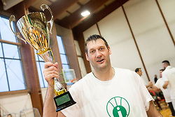 Goran Jagodnik of Ilirija celebrates at Jagodnik's end of a career after basketball match between KD Ilirija and KK Mesarija Prunk Sezana in Last Round of 2. SKL  2016/17, on April 15, 2017 in GIB center, Ljubljana, Slovenia. Photo by Vid Ponikvar / Sportida