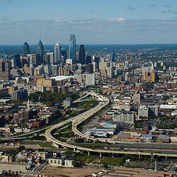 Aerial view of Philadelphia looking west over 95 split