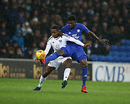 Ryan Sessegnon of Fulham (l) is challenged by Bruno Ecuele Manga of Cardiff city ®. .EFL Skybet championship match, Cardiff city v Fulham at the Cardiff city stadium in Cardiff, South Wales on Boxing Day, Tuesday 26th December 2017.<br /> pic by Andrew Orchard, Andrew Orchard sports photography.