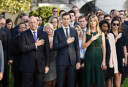 L to R : Gary D. Cohn, President Trump's top economic adviser, Jared Kushner, the President's son-in-law and senior adviser and Ivanka Trump participate in a moment of silence on the 16th anniversary of the September 11 terrorist attacks on the United States, at the White House on September 11, 2017 in Washington, DC. Photo by Olivier Douliery/ Abaca