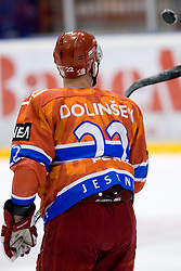 Jure Dolinsek (HK Acroni Jesenice, #22) during ice-hockey match between HK Acroni Jesenice and Moser Medical Graz99ers in 15th Round of EBEL league, on October 26, 2010 at Podmezaklja, Jesenice, Slovenia. (Photo By Matic Klansek Velej / Sportida.com)