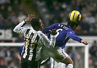 Photo: Andrew Unwin.<br />Newcastle United v Everton. The Barclays Premiership. 25/02/2006.<br />Everton's Mikel Arteta (R) beats Newcastle's Celestine Babayaro (L) to the ball.