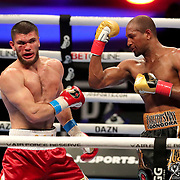 Carlos Gongora (R0 catches Ali Akhmedov during the undercard bout of the Gennady Golovkin versus Kamil Szeremeta world title fight at the Seminole Hard Rock Hotel and Casino in Hollywood, Florida USA on 18, Dec 2020. Photo: Alex Menendez