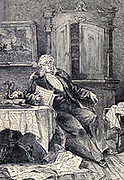 """Doctor Sarrasin at breakfast from The Begum's Fortune (French: Les Cinq cents millions de la Bégum, literally """"the 500 millions of the begum""""), also published as The Begum's Millions, is an 1879 novel by Jules Verne, with some utopian elements and other elements that seem clearly dystopian. It is noteworthy as the first published book in which Verne was cautionary, and somewhat pessimistic about the development of science and technology.. Translated by W.H.G. Kingston in 1860 Published in Philadelphia by J. B. Lippincott and Co."""