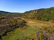 Aerial photograph of the prairie at Devils Lake State Park, Sauk County, Wisconsin, USA on a beautiful autumn afternoon.