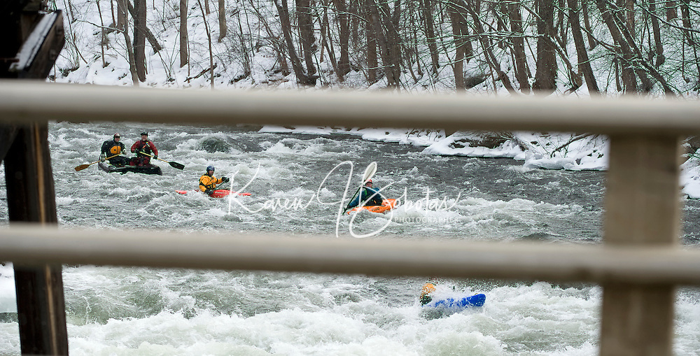 The annual New Years Kayak run down the Winnipesaukee River at Trestle View Park in Franklin, NH as part of the First Day Franklin event..